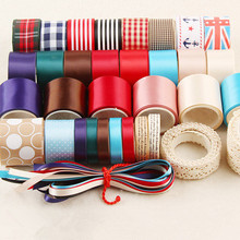 37 YDS Solid Satin Tapes Plaid Striped Webbing Cotton Lace / Printed Grosgrain Mixed Ribbon Set Sewing Wedding Accessories NR-17(China (Mainland))