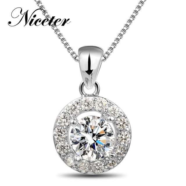 NICETER Sterling Silver 925 Necklace Miroc Swiss CZ Dimaond Pave Necklaces&Pendants For Women N8053 Round Necklace Zircon Silver