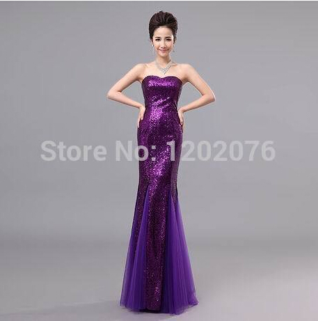 Free Shipping Hot Sell 2015 New Wedding Formal Dress Tube Top Paillette Fishtail Dress Bride Party Dress Gorgeous Dress(China (Mainland))