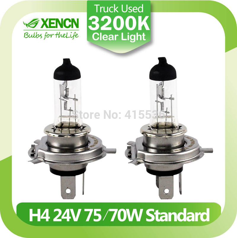 XENCN H4 P43t 24V 75/70W 3200K Clear Series Off Road Standard Truck Headlight Clear Halogen Bulb Auto Lamps Free Shipping 2PCS(China (Mainland))
