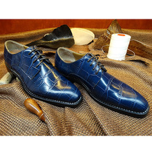 LA15 Customize Goodyear Crocodile Leather Italy Handmade Shoes Suit Dress Party Wedding Oxfords Blue Leather Large Size 37-45(China (Mainland))
