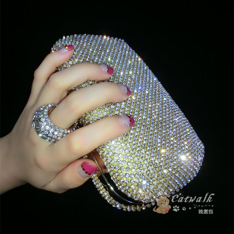 2015 diamond-studded evening bag evening bag with a diamond bag women's rhinestone banquet bag day clutch female 3 Color(China (Mainland))
