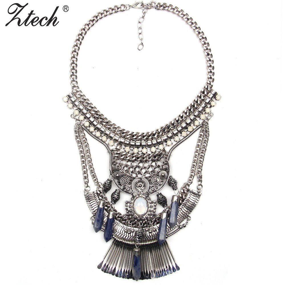 Bohemia Style Posters paragraph exaggerated Multi gem metal Statement Necklaces & Pendants women Jewelry Factory Price - Her Luxury Store store