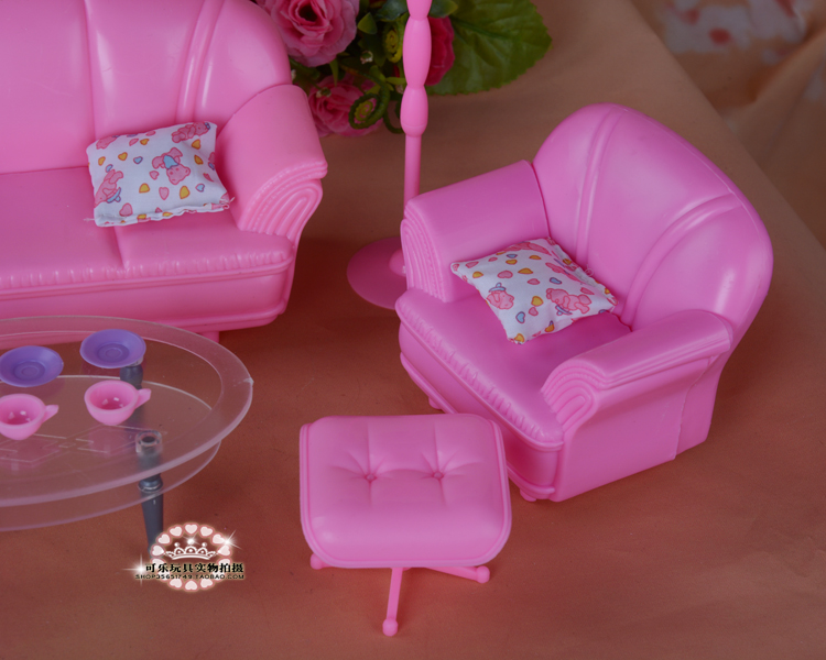 New Dolls equipment Princess pink simulation furnishings lounge couch for barbie doll diy play units lady toys 1/6