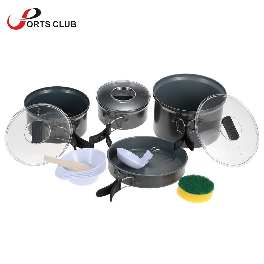 New BRS Portable Outdoor Camping Hiking Cooking Set Aluminium Non-stick Pots Pans Bowls Cookware Utensil Camping Pot Set(China (Mainland))