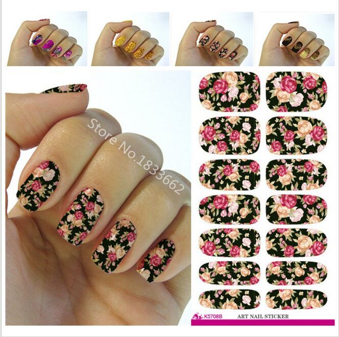 2016 Nail Art Hot sale Minx Red Rose flower Full Cover nail sticker Water Transfer Foils Flowers Design Nail Sticker tools V604(China (Mainland))