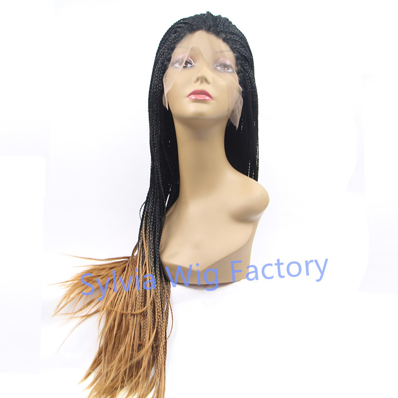 Фотография New arrival african american premium black to blonde 2T ombre braid wig micro braided wigs lace front wig free shipping by DHL