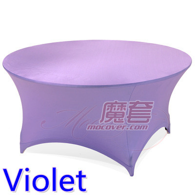Spandex table cover Violet color round lycra stretch table cloth fit 5ft-6ft round wedding hotel banquet and party decoration(China (Mainland))