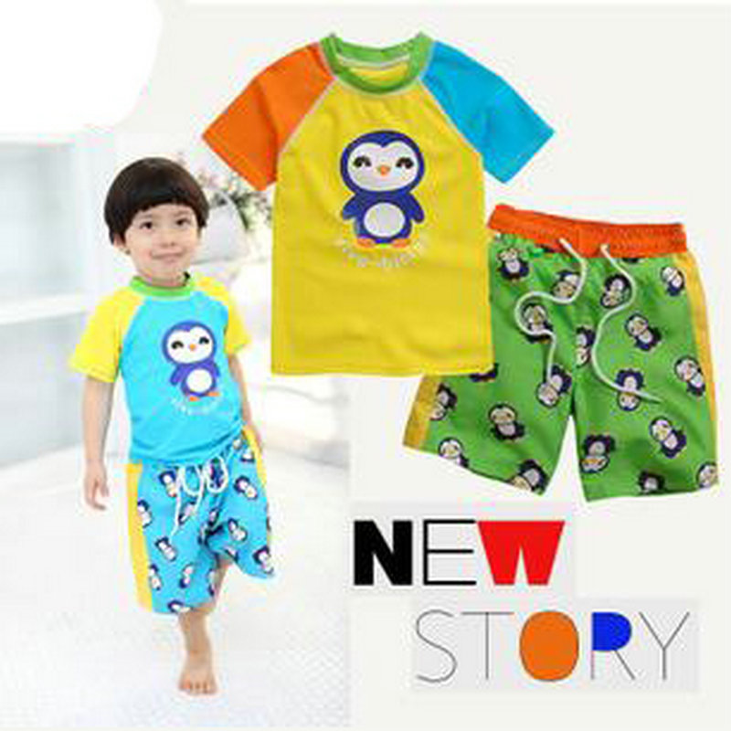 Cheap for Sale Penguin Pattern Swimwear Baby Boy Two Pieces Bathing Suit Kids Swimsuit Baby Swimming Clothes 3T 4T(China (Mainland))