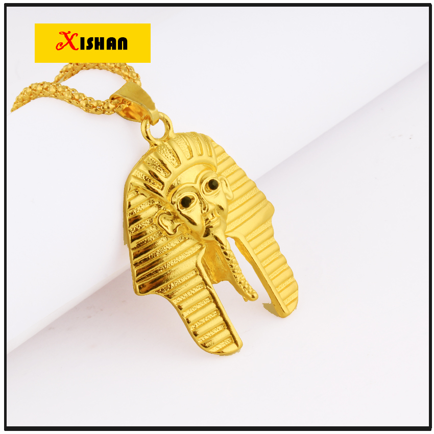 NEW Fashion Jewelry Vintage Classic Egyptian pharaoh Head Gold Pendant Necklace for Men/Women Collier(China (Mainland))