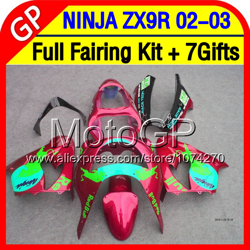 7gifts+Dark red Body For KAWASAKI NINJA ZX-9R ZX9R 02-03 ZX 9R 9 R P18163 02 03 Red green cyan 2002 2003 ZX9 R +Fairings Kits(China (Mainland))