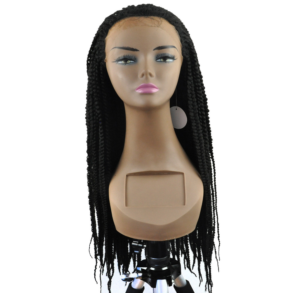 """14""""-26"""" Blended Braided Front Lace Wig Front Hand Knotted Synthetic Full Wigs Micro Braids Thin Braids Heat Resist Black W88062(China (Mainland))"""