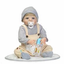 "Buy 22"" Fashion girl boy doll reborn full body silicone vinyls can enter water bath doll toys babies gift reborn realista child"