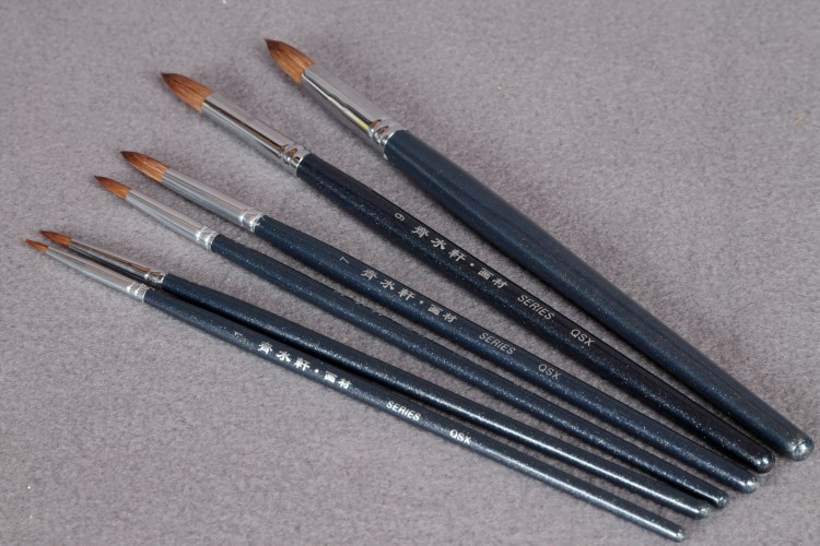 6Pcs/Set Qishuixuan Brand Weasel Hair Round Head Paint Brush Elastic Medium Watercolor Painting Brushes Hook Line Pen For Artist