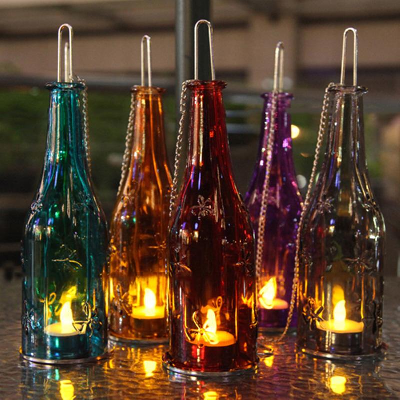 Wine Bottle Tea Light Candle Holder Glass Hanging Hurricane Lantern Wedding Party Lighting Home Garden Decoration Centerpieces(China (Mainland))
