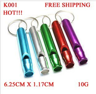 K001 HOT SALE  ALUMINUM WHISTLE OUTDOOR LIFE-SAVING / PET TRAIN WHISTLE MULTICOLOR KEY CHAIN FREE SHIPPING