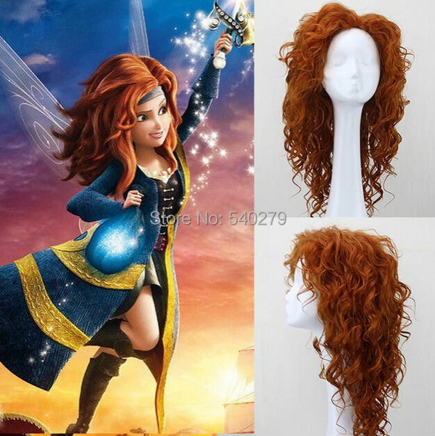 Hot Selling Tinker Bell and the Pirate Fairy Cosplay Wigs Auburn Long Curly Synthetic Hair Women Anime Costume Wig + Free cap(China (Mainland))