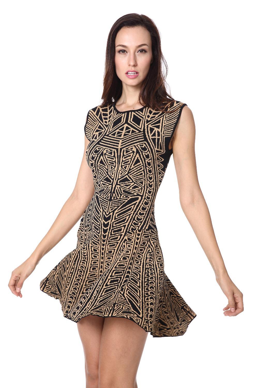 2015/16 party dress Women's O- collar Fashion Multi - Color Jacquard Sleeveless evening Dresses Lenie fashion store
