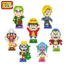 LOZ Anime One Piece Action Figure Toy DIY Mini Model Diamond Building Block 9 Style Luffy Franky Usopp Brook Tony Action Figure