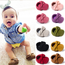 Cute Butterfly-knot Tassels Baby Moccasin Quality Infant Babies First Walkers Newborn Footwears Indoor Boots(China (Mainland))