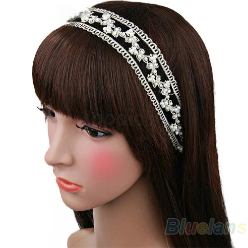 Min. 1pc Fashion Women Lace Pearl Beads Headhand Hairband Hair Head Band Headwear Accessories 8EUK(China (Mainland))