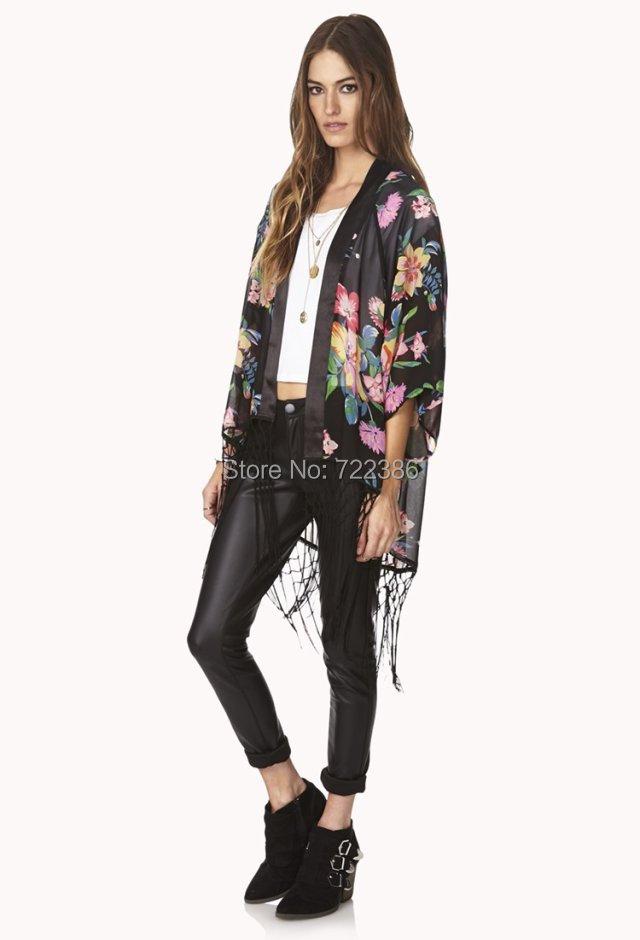 Kimono Jaqueta casaco longo das mulheres  nova solto Floral impresso Chiffon Cardigan com Tassel para senhoras Outwear Jaqueta Feminina