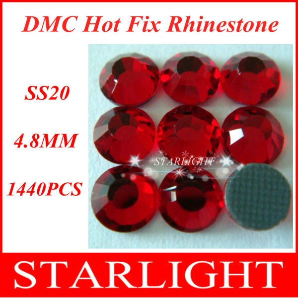 FREE SHIPPING,DMC hot fix rhinestone,Lt. Siam Color run dmc SS20,China post air mail free,1440pcs/lot star15(China (Mainland))