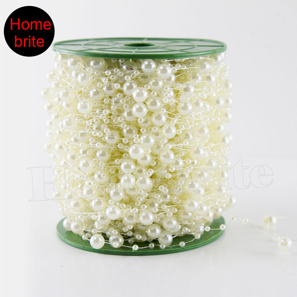 60m/Roll Wedding Decoration Centerpieces Supplies 8mm Fishing Line Pearls Beads Chain Christmas Pearl Garland Decor PT089(China (Mainland))