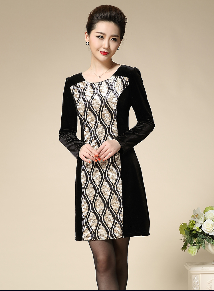 New Fashion Elegant Plus Size Mother Dress Slim Straight Patchwork O-neck Casual Middle Aged Women Party Dress 2016 Autumn L-4xl