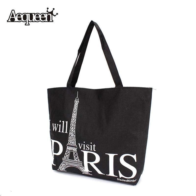 Women Canvas Handbag Large Space Zipper Shopping Travel Shoulder Bag Paris Eiffel Tower Pattern Girls Beach Bookbag Casual Tote(China (Mainland))