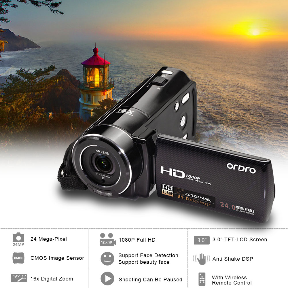 "ORDRO HDV-V7 1080P Digital Video Camera 24 MP 3.0"" LCD Screen 16x Digital Zoom Support Face Detection Mini Camera Camcorder(China (Mainland))"