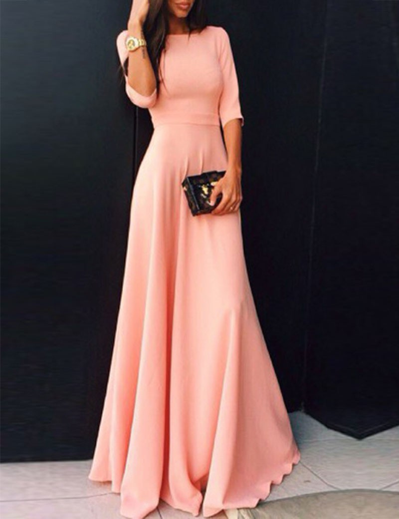 2017 coral long satin modest bridesmaid dresses with half for Long sleeve dresses to wear to a wedding