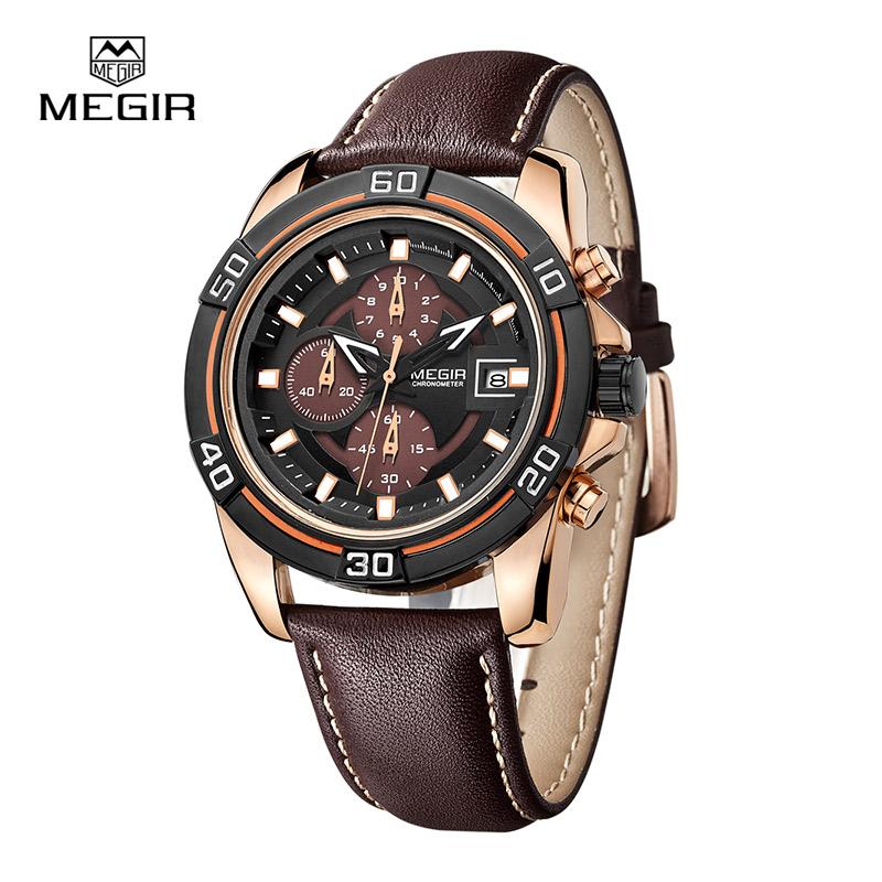 MEGIR relogio hot sport running quartz watch 2016 man luxury masculino leather wristwatch Men Watches Chronograph 6 Hands 2023(China (Mainland))