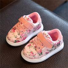 ילדים חדשים נעלי בנות אופנה ילדי נעליים יומיומיות פרחוני חמוד לפעוטות ילדים סניקרס לנשימה תינוק בנות נעלי האיחוד האירופי 21- 30(China)