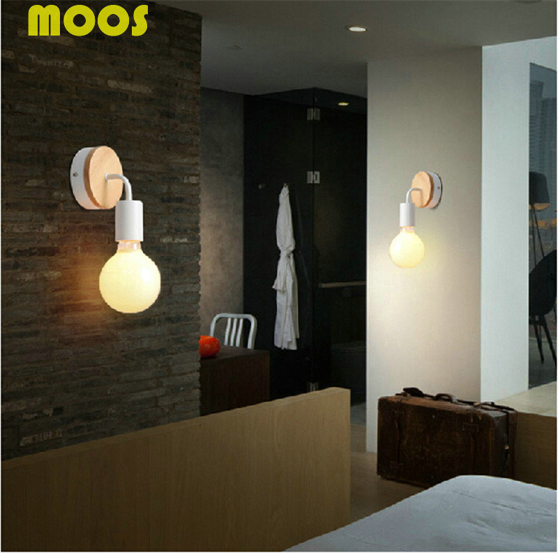 Fashion Modern Solid Wood iron  Wall Sconce  Retro Industrial  Wall Light  Corridor Aisle Bedroom Bedside Lamp Indoor Lighting <br><br>Aliexpress