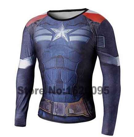2016 Fashion Marvel Avenger Captain America Spiderman T shirt Men Armour Base Layer Long Sleeve Thermal Under Top Sport T shirt(China (Mainland))