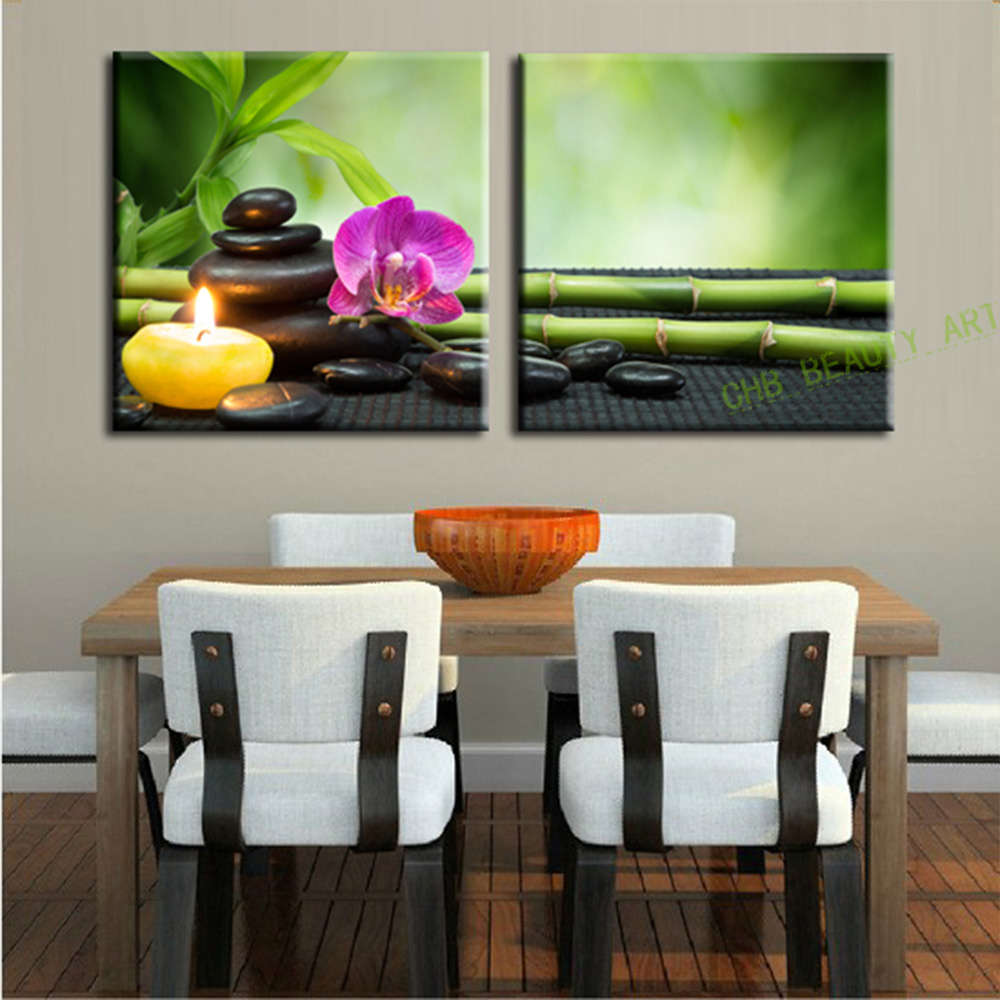 2 panels bamboo corridor decor canvas art modern oil painting wall pictures for living room - Corridor decoratie ...