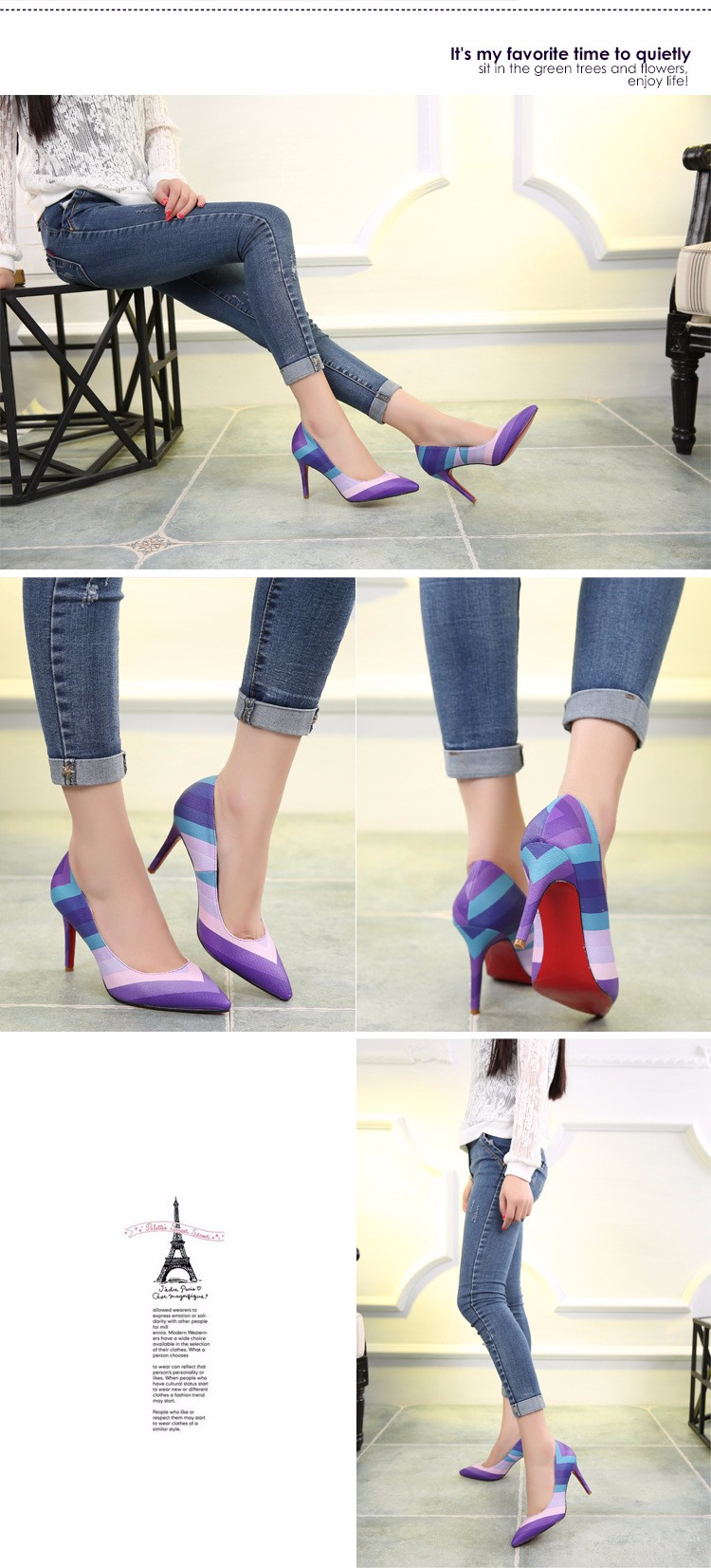 2016 Spring Summer Rainbow Style Sexy Pointed Toe Shallow Mouth Women Pumps High-heeled Women Single Shoes Plus Size 35-43 P3.5