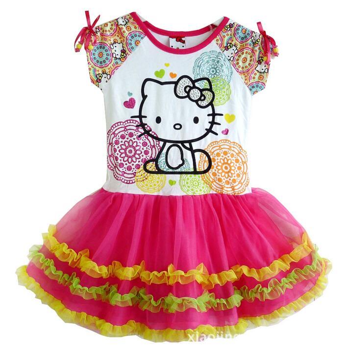 2016 Brand Kids Baby Girls Princess Dress hello kitty girl dresses, Girls party dress KT cat cartoon girls clothes summer wear(China (Mainland))