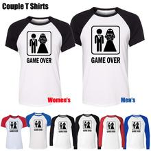 Game Over Funny Wedding Stag Hen Night Bride Design Printed T-Shirt Women's Girl's Graphic Tops Red or Black Sleeve