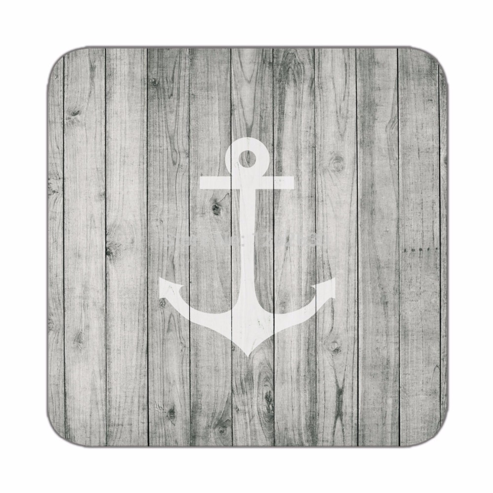 Vintage White Nautical Anchor on Gray Wood Print Custom Mat Drink Tea Cup Cork Coasters Pack of 4(China (Mainland))