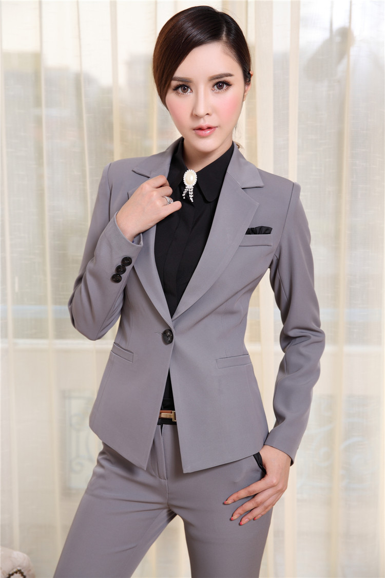 Plus Size S-4XL Elegant Black 2015 Fashion Slim Professional Business Work Wear Suits With Pant And Jacket Fall Winter UniformsОдежда и ак�е��уары<br><br><br>Aliexpress