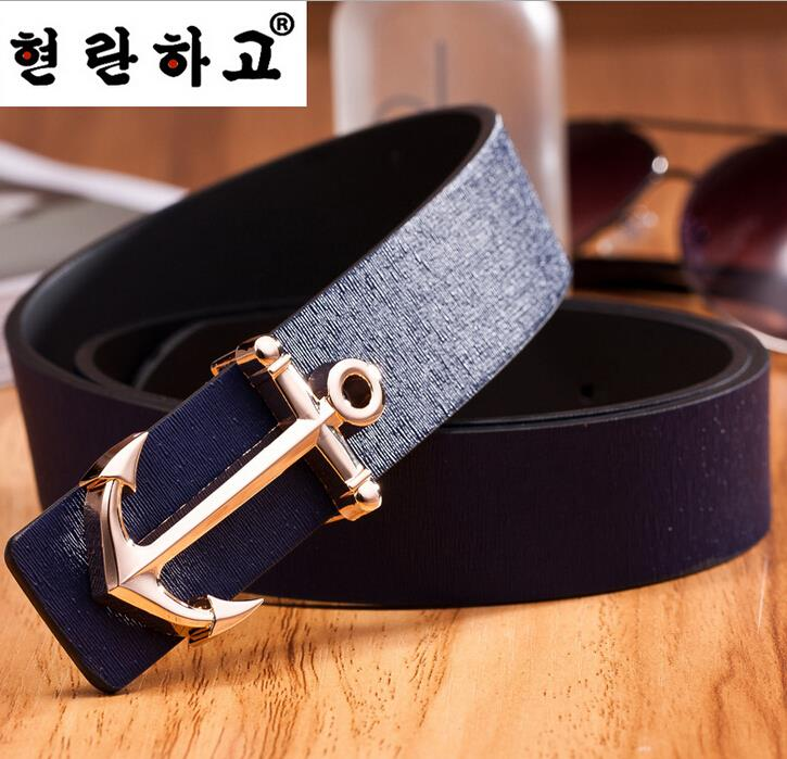 OMH wholesale fashion personality Stainless steel smooth pin buckle head PU leather anchor leisure belts PD152(China (Mainland))