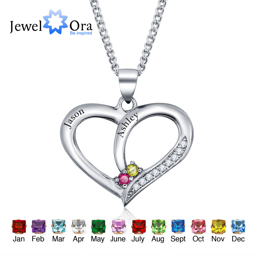 Personalized Engrave Pendants Necklaces Birthstone Classic Heart 925 Sterling Silver Necklaces & Pendants (JewelOra NE101234)(China (Mainland))