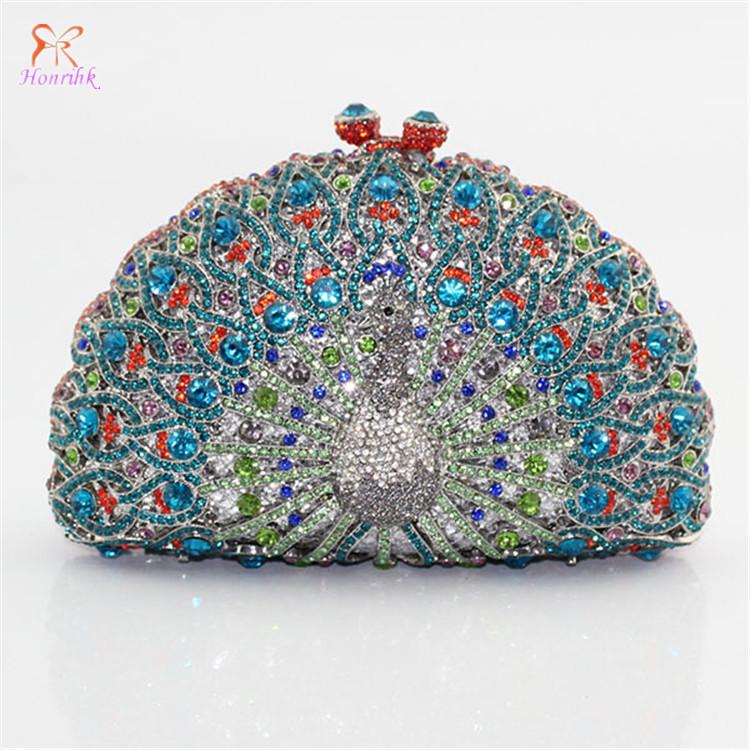 High quality Christmas gifts for women Luxurious peacock crystal rhinestones diamonds woman clutch handbag dress bag