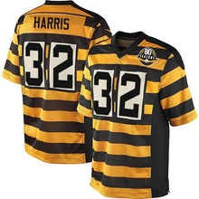 Men's #32 Franco Harris Elite YellowBlack Alternate 80TH Anniversary Throwback Jersey 100% Stitched(China (Mainland))