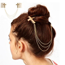 New Europe and America Hair Accessories Cross with Chains Hair Combs Girls Hair Sticks