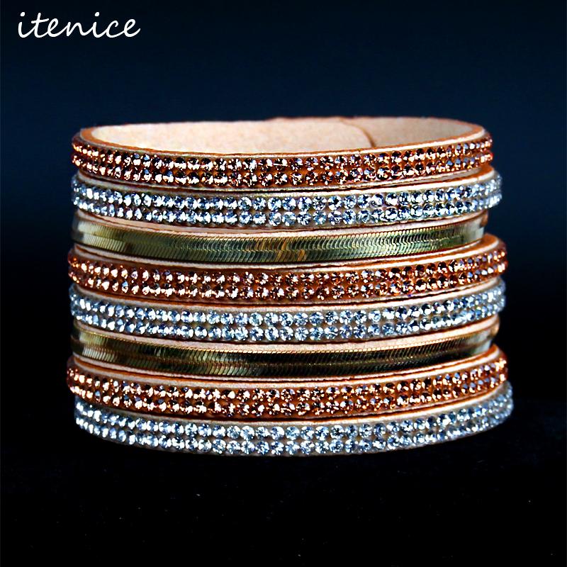 2016 Newest Multilayer Rhonestone Charm Leather Bracelets & Bangles for Women,Leather Bracelet for Couple Wrap Bracelet 6 Colors(China (Mainland))