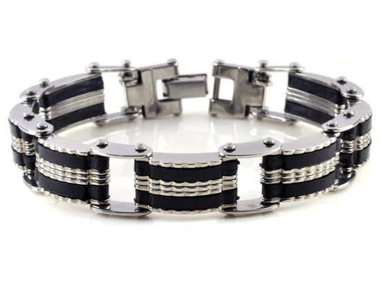 New-Men-s-High-Quality-Stainless-Steel-Bracelet-Silver-Link-Black-Rubber-Bangle (1)