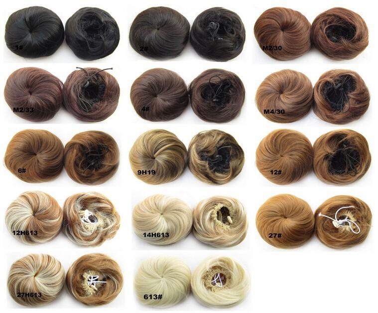 пучок волос Шиньон, синтетические пончик ролик шиньоны #1 черный как смоль